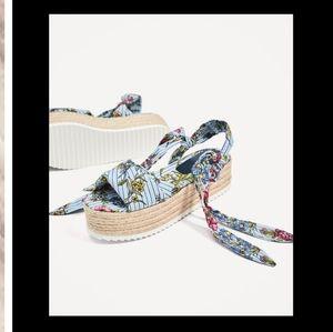 Zara Floral Platform Sandals